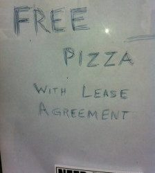 Free Pizza With Lease Agreement