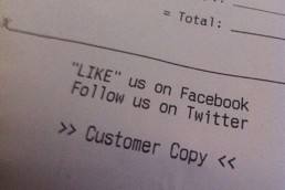 Restaurant receipt and social media